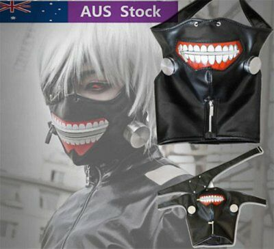 Halloween Party Mask Adjustable Cosplay Tokyo Ghoul Kaneki Ken Zipper Belt Prop