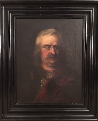 Russian School 18th C Antique Oil Painting Portrait Of A Soldier In Armour.