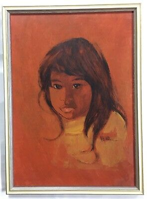 Original Oil Painting Retro Portrait of an Oriental Girl Signed Weiland