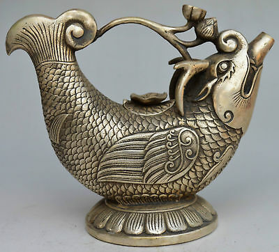 Collectible DecoratedChinese Miao Silver Carved Dragon Fish TeaPot