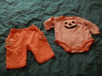 Carter's Orange & white striped Pumpkin 2 piece outfit size 6 months 100% cotton