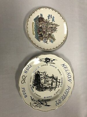 Two Lord Nelson Pottery Plates Kings Of England & The Battle Of Trafalgar