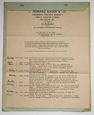 1916 J Howard Eager Travel Itinerary for Dr Rozel and Mrs B M Rozel
