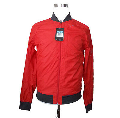 NIKE RUNNING men size M Dri-Fit Red Color Jacket fully fleece lined breathable