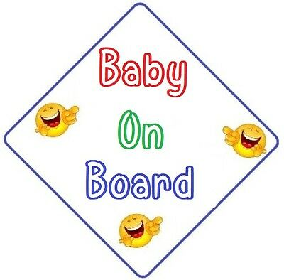 BABY ON BOARD - CAR SIGN - MADE IN AUSTRALIA  with 2 Peel Off Strips FREE POST