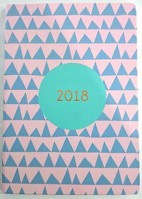 2018 Diary A4 Week To Page Soft PU Feel Paper Marble Print-Pink w Blue Triangle