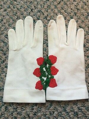 Vintage White Gloves By Elayne Embroidered Strawberries!! Size Small