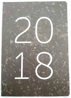 2018 Diary A5 Day To Page Soft PU Feel Paper Day To Opening Marble Print-Black