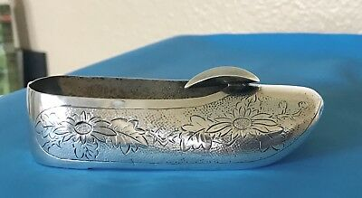Vintage Chinese Export Bright-cut Silver Zee Sung Shoe Ashtray