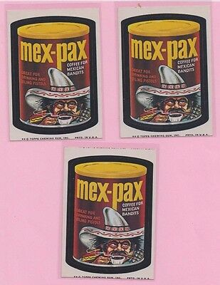 Lot of 3 Mex-Pax Wacky Packages 1974 7th series Tan Back