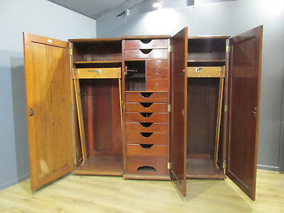 Large Early Victorian Flame Mahogany  Breakfront Triple Wardrobe
