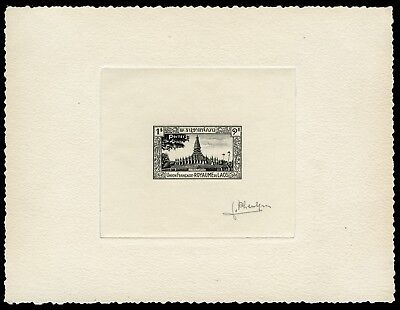Laos 1951 Temple Pagoda That Luang Artist Die Proof in black signed Pheulpin /83