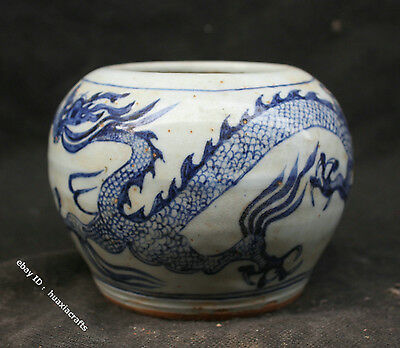 13 Chinese Blue and White Porcelain Handmade Dragon Loong Jar Pot Cans Jug Tank