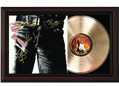 The Rolling Stones - 24k Gold LP Record With Reprint Autographs In Wood Frame