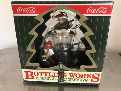Coca Cola Bottling Works Collection Fountain Glass Follies Elves Ornament