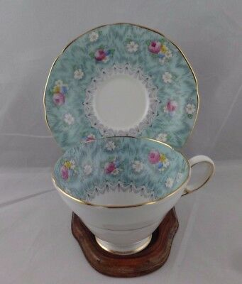 """PARAGON """"EVANGELINE"""" Blue Aqua FOOTED CUP & SAUCER 8 OZ  Made in England"""