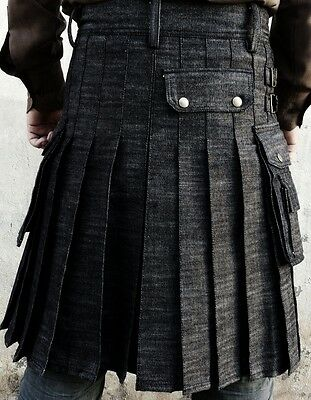 New active men  handmade denim black utility kilt with free DHL shipping