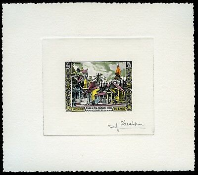 Laos 1954 Tempel König 40 Artist Die Proof Handpainted Color signed Pheulpin /88