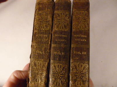 Antique Exeter Williams Scottish Chiefs 1827 Leather Bound Books 3 Volume Set