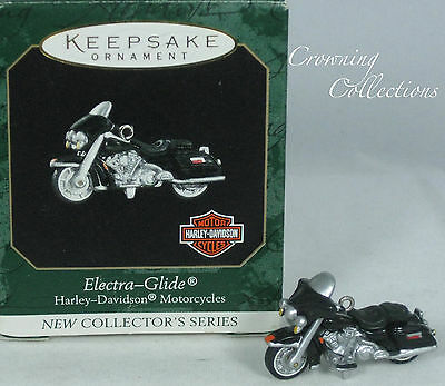 1999 Hallmark Harley Davidson Electra Glide Miniature Ornament 1st Motorcycle #1