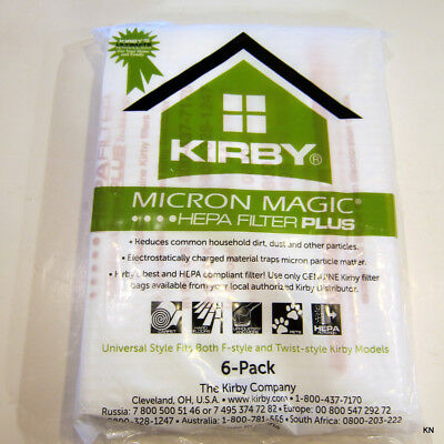 Kirby Universal 6/Pack Allergen Plus white polypropylene bags. 204814