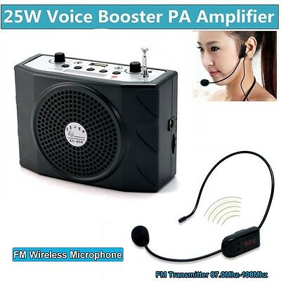 25W Voice Booster Amplifier+Remote+FM Wireless Microphone For Meeting Speaker