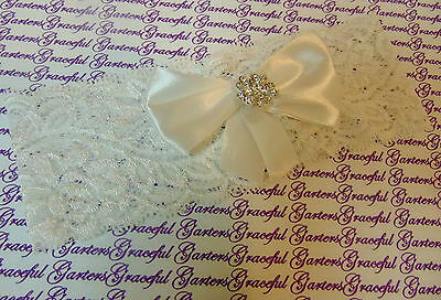 white stretch lace bow & diamante flower Bridal Wedding Brides Hen Garter