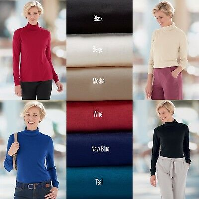 Ladies Long Sleeve Roll Polo Neck T-Shirt Top Turtle Neck Top All Sizes