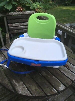 Fisher-Price Healthy Care Deluxe Booster Seat Blue Green Gray Baby Chair []