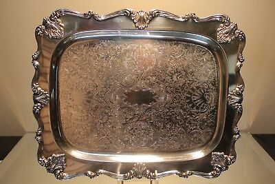 """W&s Blackinton Silver Plated Footed 11.5"""" W X 14"""" L Tray #132 Victoria Vintage"""