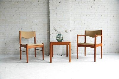 mid century modern solid teak dining chairs (set of 2)