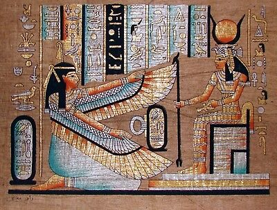 Egyptian Hand-painted Dark Papyrus Artwork: Hathor & Winged Maat SIGNED