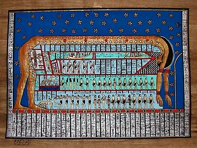 Egyptian Hand-Painted Signed Papyrus Artwork: The Sky Goddess Nut Dark Papyrus