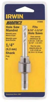 Irwin 373004 Hole Saw Arbor, 1/4 in Dia, 1/2 in Standard Hex Shank, 1/2 in Chuck