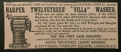 Harper 1884 Washing Machine Advert Twelvetrees Villa