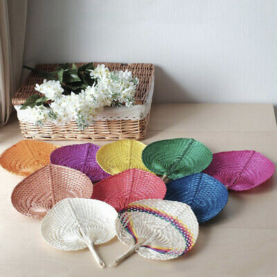 Thai Bamboo Hand Fans Handmade Craft Collectible Decor Gift Woven Folk Art Style