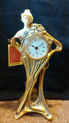 Gold and White Lady mantel clock