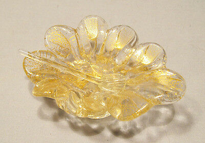 Vintage Murano Speckled Gold Flake Art Glass Leaf Salt Cellar with Spoon