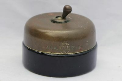 Antique Brass & Ceramic Electric Light Toggle Switch - Hubbell Made in USA