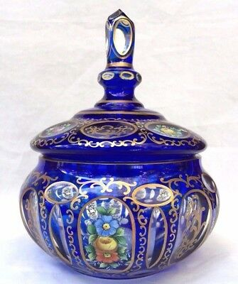 Vintage Moser Bohemian Glass Cobalt Blue Floral Lidded Jewelry Box/ Candy Jar