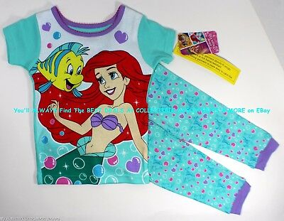 LITTLE MERMAID ARIEL Toddler Girls Tight Fit TOP w/ PANTS Cotton PAJAMAS Size 4T