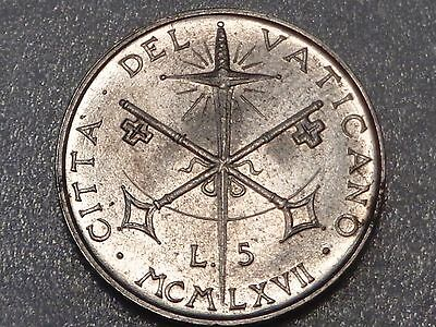 Vatican 1967 5 Lire Crossed Keys with Holy Sword Paul VI Papal Coat of Arms UNC