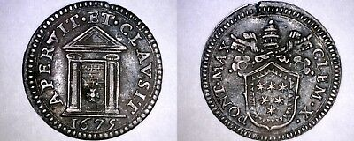 1675 Italian States Papal States 1/2 Grosso World Silver Coin - Clement X
