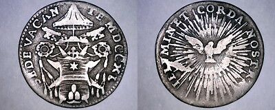 1740 Italian States Papal States 1 Grosso World Silver Coin - Sede Vacante