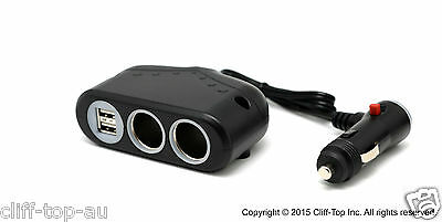 Cliff-Top12-30v 3.3A Multi-Socket Car Charger-2 Port USB + 2 Cigarette Sockets