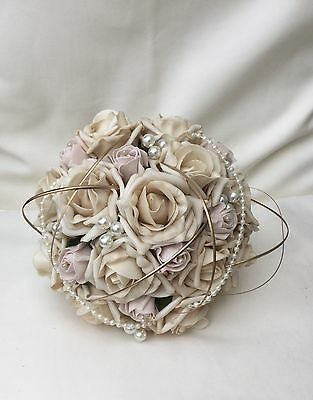 Blush Pink Vintage Champgne Roses Posy Bouquet Pearls Brooch Wedding Flowers