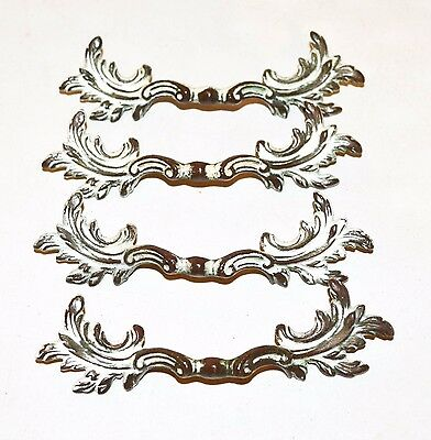 Vintage Drawer Pulls Handles Ornate French Provincial Distressed White K90 Brass