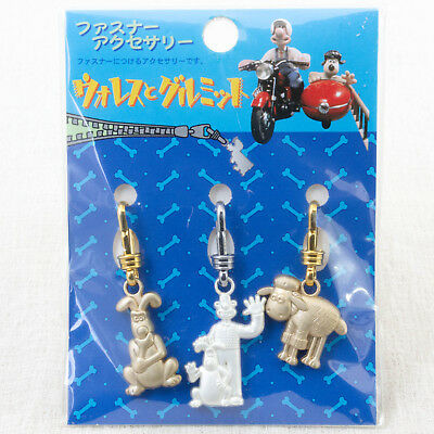 Wallace & Gromit Fastener Mascot Accessory 3pc Set A JAPAN Ardman ANIME
