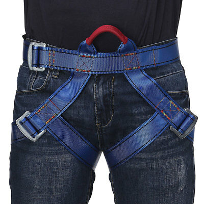 Pro Rock Climbing Belt Harness Seat Safety Rescue Rope Downhill Equipment Blue