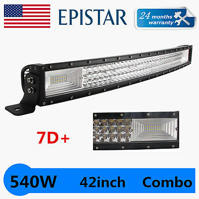 """7D 42inch 540W Curved LED Light TRI-ROW Combo Offroad Driving 4x4WD PK 40"""" 240W"""